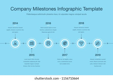 Business infographic for company milestones timeline template with white circles and dark icons isolated on blue background. Easy to use for your website or presentation.
