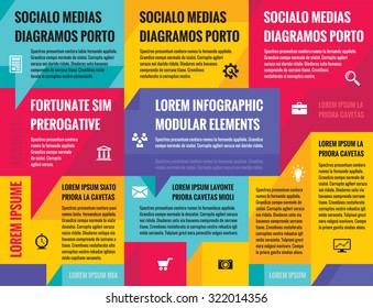 Business infographic concept layout for presentation, booklet, website and other design project. Social media speech bubbles. Vector icons set. Infograph color poster.