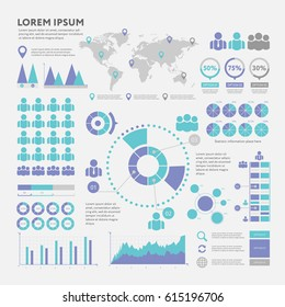 Business infographic concept - vector set of infographic elements in flat design style for presentation, booklet, website. Big set of Infographics.