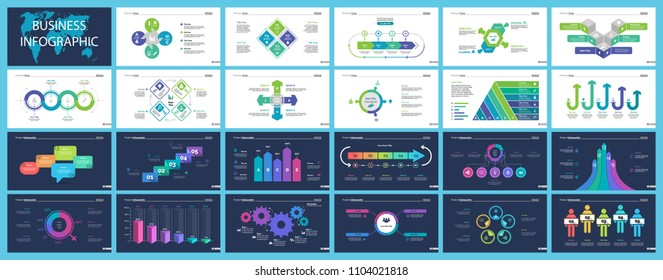 Business infographic creative design set can be used for annual report, web design, workflow layout. Workflow concept. Option, venn, cycle, donut charts, bar graph, flowchart