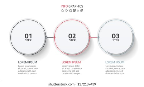 Business infographic design with circle elements and thin line flat connection. Timeline with 3 steps, number options, or process. vector illustration. can be used for workflow layout, report.