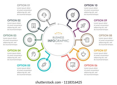 Business Infographic design template with icons and 10 options or steps.  Can be used for process diagram, presentations, workflow layout, banner, flow chart, info graph.