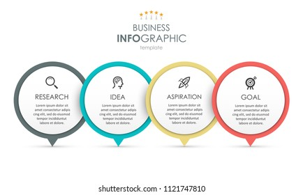 Business Infographic design template with icons and 4 options or steps.  Can be used for process diagram, presentations, workflow layout, banner, flow chart, info graph.