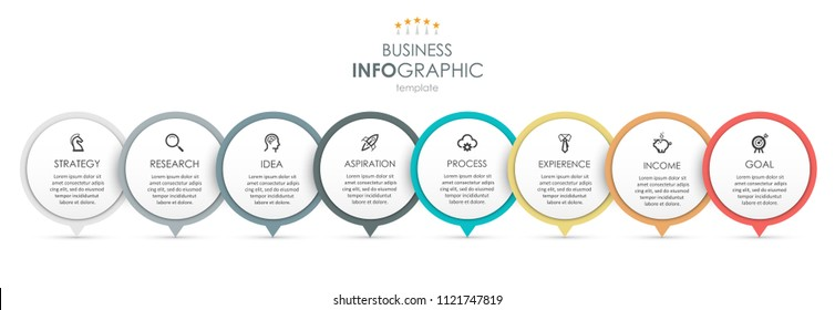 Business Infographic design template with icons and 8 options or steps.  Can be used for process diagram, presentations, workflow layout, banner, flow chart, info graph.