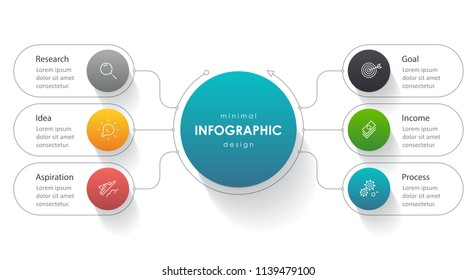 Business Infographic design template with icons and 6 options or steps.  Can be used for process diagram, presentations, workflow layout, banner, flow chart, info graph.