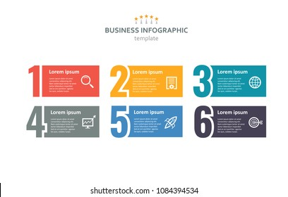 Business infographic design template with number 6 options. Vector illustration.