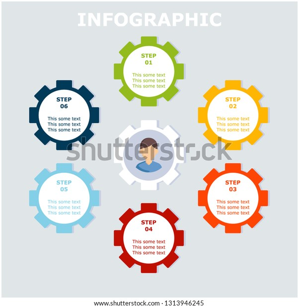 Business Infographic Design Template Six Colorful Stock