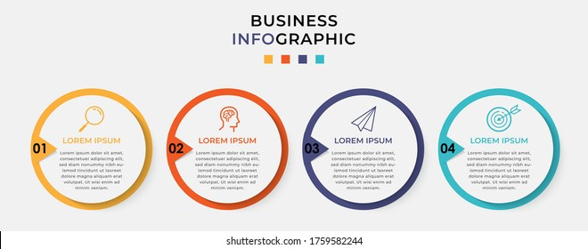 Business Infographic design template Vector with icons and 4 options or steps. Can be used for process diagram, presentations, workflow layout, banner, flow chart, info graph