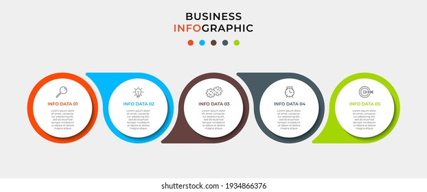 Business Infographic design template Vector with icons and 5 options or steps. Can be used for process diagram, presentations, workflow layout, banner, flow chart, info graph