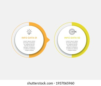 Business Infographic design template Vector with icons and 2 options or steps. Can be used for process diagram, presentations, workflow layout, banner, flow chart, info graph