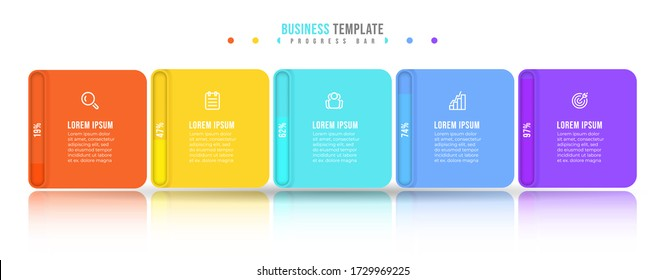 Business infographic design vector with progress bar and 5 options or steps. Can be used for annual report, info chart, web design.