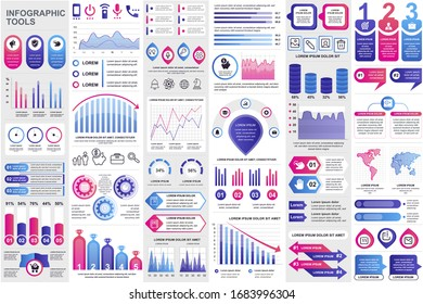 Business infographic elements set. Data visualization bundle for creative marketing presentation slides and web design. Colorful stock and flow charts, line, circle and bar graphs vector illustration.