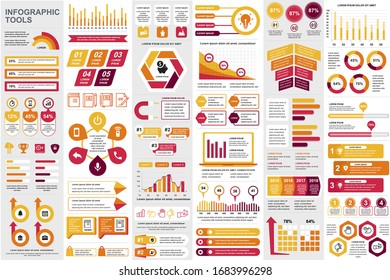 Business infographic elements set. Business processes visualisation, workflow and flowchart. Colorful stock and flow charts, line, circle and bar graphs vector illustration. Business and accounting
