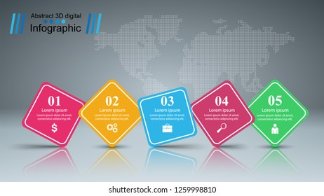 Business infographic. Five paper items. Vecor eps 10