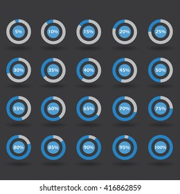 Business infographic icons template pie graph circle percentage blue chart 5 10 15 20 25 30 35 40 45 50 55 60 65 70 75 80 85 90 95 100 % set illustration round vector