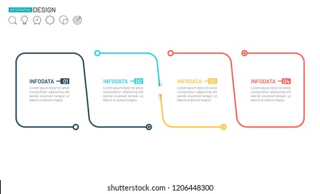 Business infographic linear design element. Timeline with 4 steps, options. Can be used for workflow layout, diagram, web design. Vector business template for presentation.