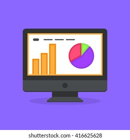 Business infographic on computer