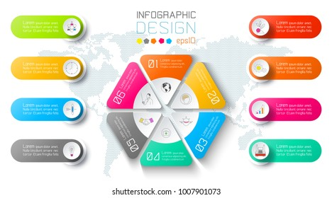 Business infographic on world map background with 8 labels around hexagon circle.