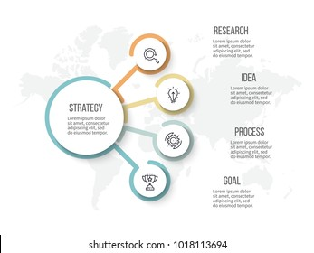 Business infographic. Organization chart with 4 options. Vector diagram.
