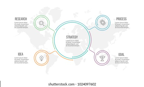 Business infographic. Organization chart with 4 options. Vector template.