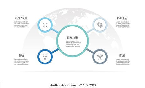 Business infographic. Organization chart with 4 options, circles and central part. Vector template.