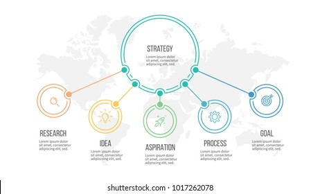 Business infographic. Organization chart with 5 options. Vector diagram.