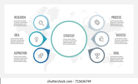 Business infographic. Organization chart with 6 options, arrows. Vector template.