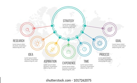 Business infographic. Organization chart with 7 options. Vector diagram.