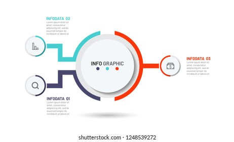Business infographic process template for presentation. Timeline with 3 option. Vector illustration. Creative concept with marketing icons.