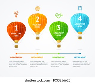 Business Infographic Realistic Detailed 3d Hot Air Banner Card Time Line for Process Project. Vector illustration of Timeline