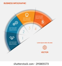 Business infographic semicircle with text areas on four positions