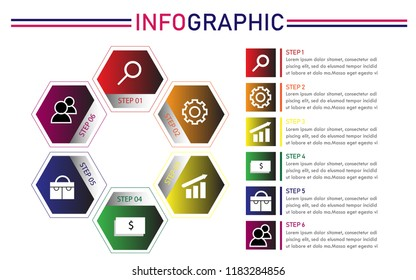 business infographic. six step workflow. Vector EPS 10.Can be used for workflow layout, diagram, business step options, banner, web design.