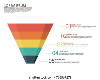 Business infographic with stages of a sales funnel