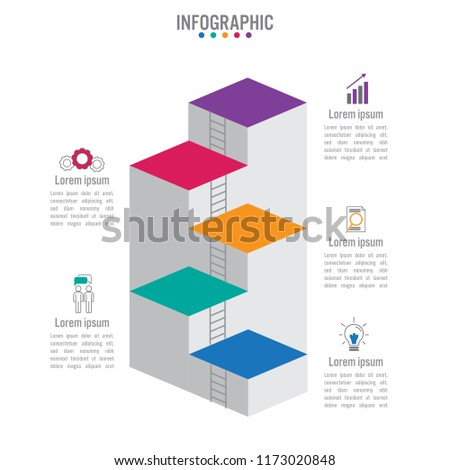 business infographic staircase template stock vector royalty free