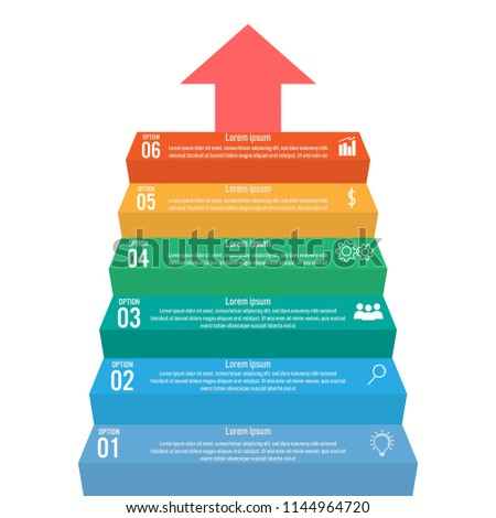 business infographic staircase template steps stairway stock vector