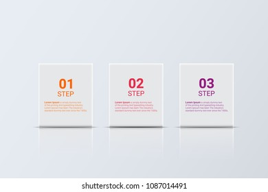 Business Infographic template with 3 options. square symbol. vector illustration