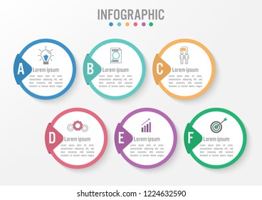 Business infographic template with 3d circle label