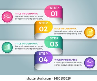Business Infographic template with 4 options steps