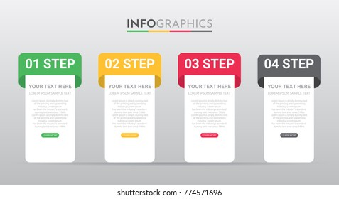 Business Info-graphic Template with 4 steps Rastafarian Colors design, Timeline 4 step, labels design, Process control, Vector info-graphic element, Flat style vector illustration EPS 10.
