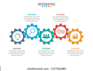 Business infographic template with 5 options gear shape, Abstract elements diagram or processes and business flat icon, Vector business template for presentation.Creative concept for infographic.