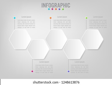 Business infographic template with 5 options hexagonal shape,Creative concept for infographic.