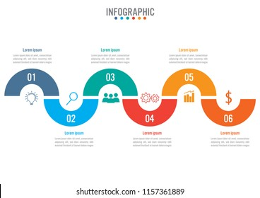 Business infographic template with 6 options curve line, Abstract elements diagram or processes and business flat icon, Vector business template for presentation.Creative concept for infographic.