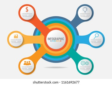 Business infographic template with 6 options circular shape, Abstract elements diagram or processes and business flat icon, Vector business template for presentation.Creative concept for infographic.
