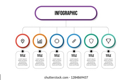 Business infographic template with 6 options, hierarchy, parts, proccess. Business presentation template for workflow, organization chart, diagram, outline, etc. Vector template EPS 10.