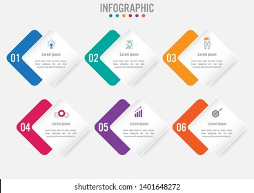 Business infographic template with 6 rectangular shape options