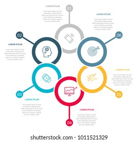 Business infographic template with 6 steps to success. Vector design.
