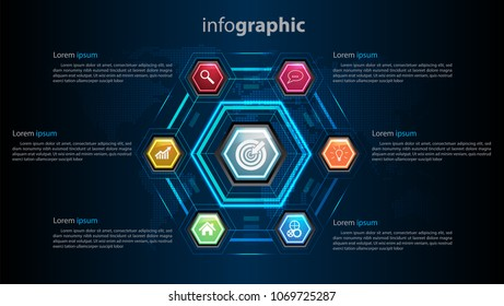 Business infographic template 6 steps, can be used for workflow layout, diagram, number options, timeline Vector design element illustration eon light modern futuristic concept