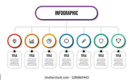 Business infographic template with 7 options, hierarchy, parts, proccess. Business presentation template for workflow, organization chart, diagram, outline, etc. Vector template EPS 10.