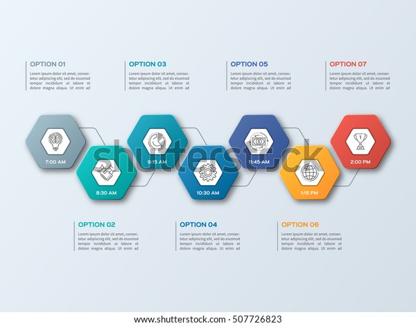 Business Infographic Template 7 Steps Processes Stock Vector