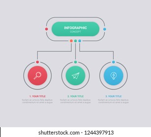 Business infographic template with circular shape. Can be used for workflow layout, diagram, number options, 3 options or steps, web design. illustration, EPS10